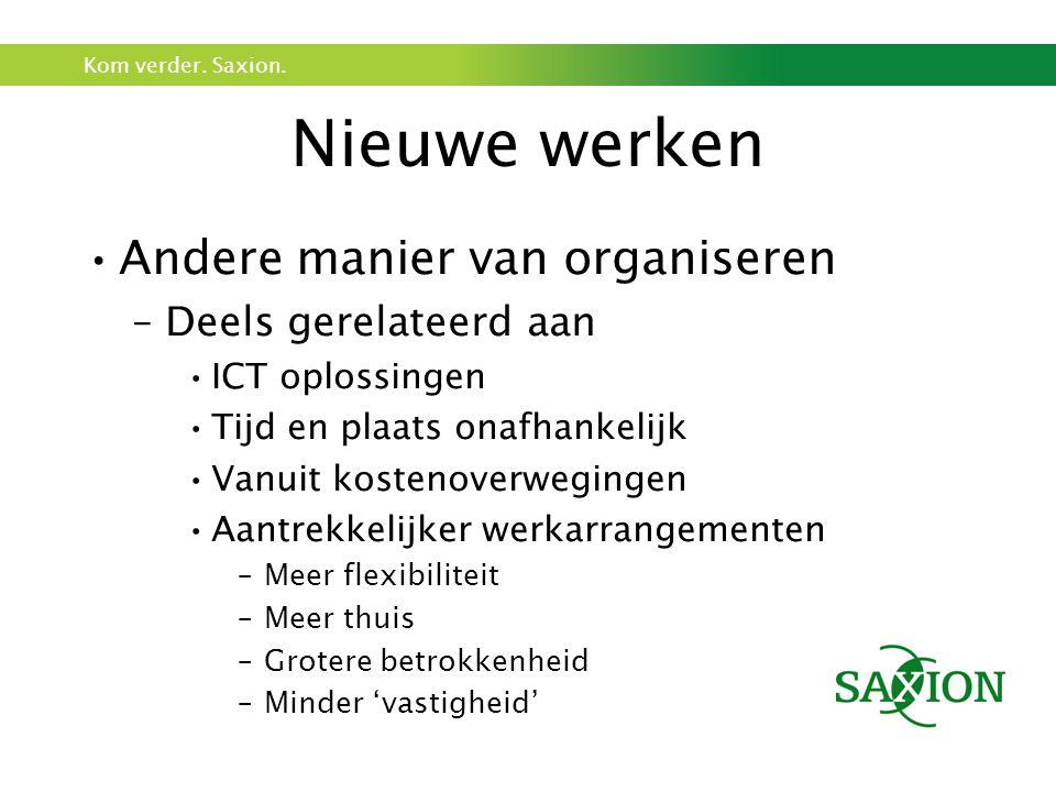 Kom verder. Saxion. Nieuwe werken Andere manier van organiseren –Deels gerelateerd aan ICT oplossingen Tijd en plaats onafhankelijk Vanuit kostenoverw