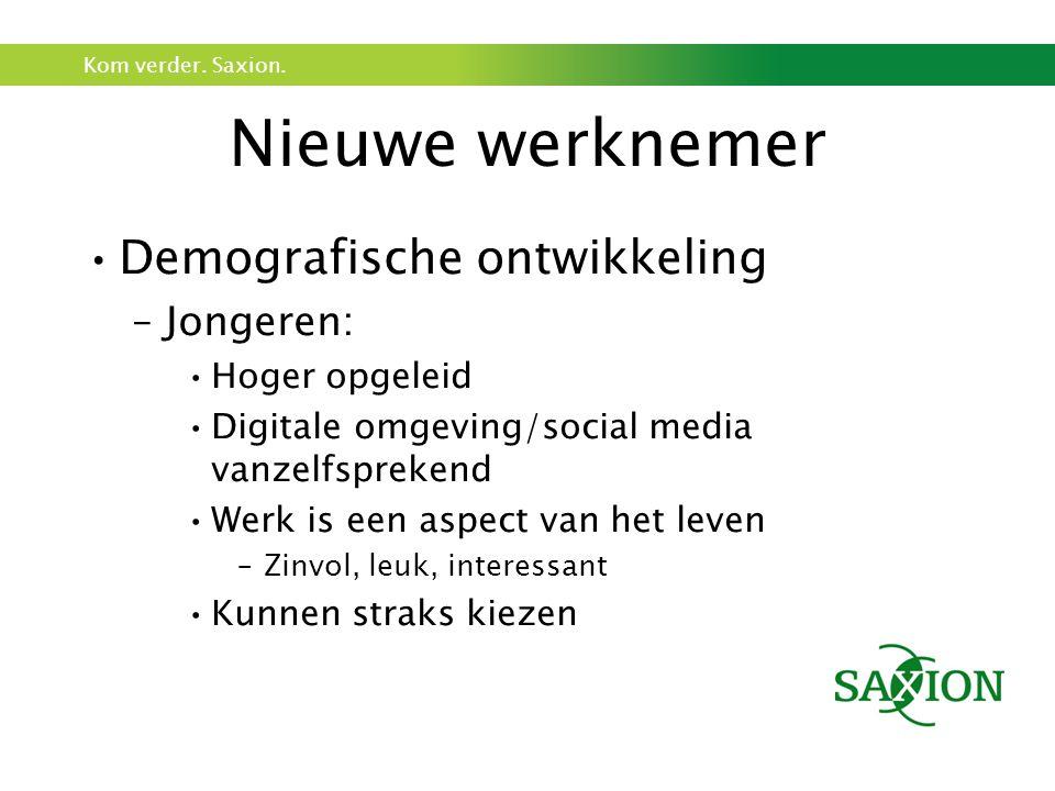 Kom verder. Saxion. Nieuwe werknemer Demografische ontwikkeling –Jongeren: Hoger opgeleid Digitale omgeving/social media vanzelfsprekend Werk is een a