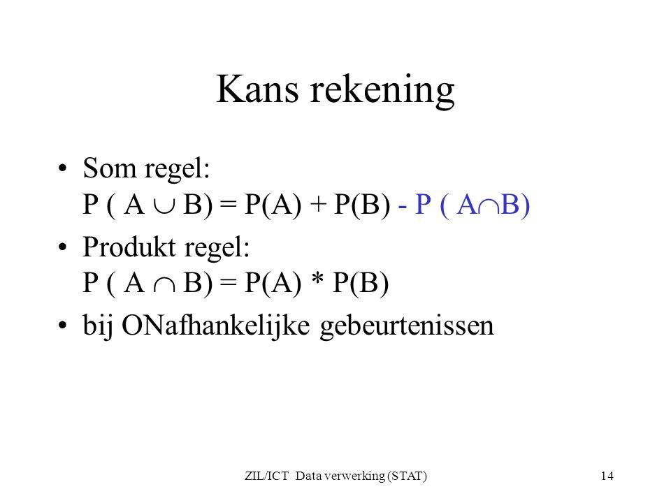ZIL/ICT Data verwerking (STAT)14 Kans rekening Som regel: P ( A  B) = P(A) + P(B) - P ( A  B) Produkt regel: P ( A  B) = P(A) * P(B) bij ONafhankel