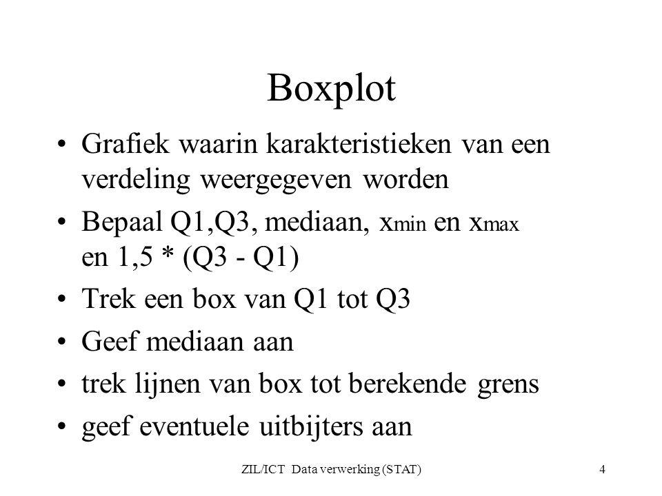ZIL/ICT Data verwerking (STAT)4 Boxplot Grafiek waarin karakteristieken van een verdeling weergegeven worden Bepaal Q1,Q3, mediaan, x min en x max en 1,5 * (Q3 - Q1) Trek een box van Q1 tot Q3 Geef mediaan aan trek lijnen van box tot berekende grens geef eventuele uitbijters aan