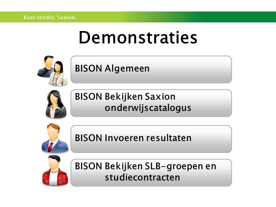 Kom verder. Saxion. Demonstraties BISON Algemeen BISON Invoeren resultaten BISON Bekijken Saxion onderwijscatalogus BISON Bekijken SLB-groepen en stud