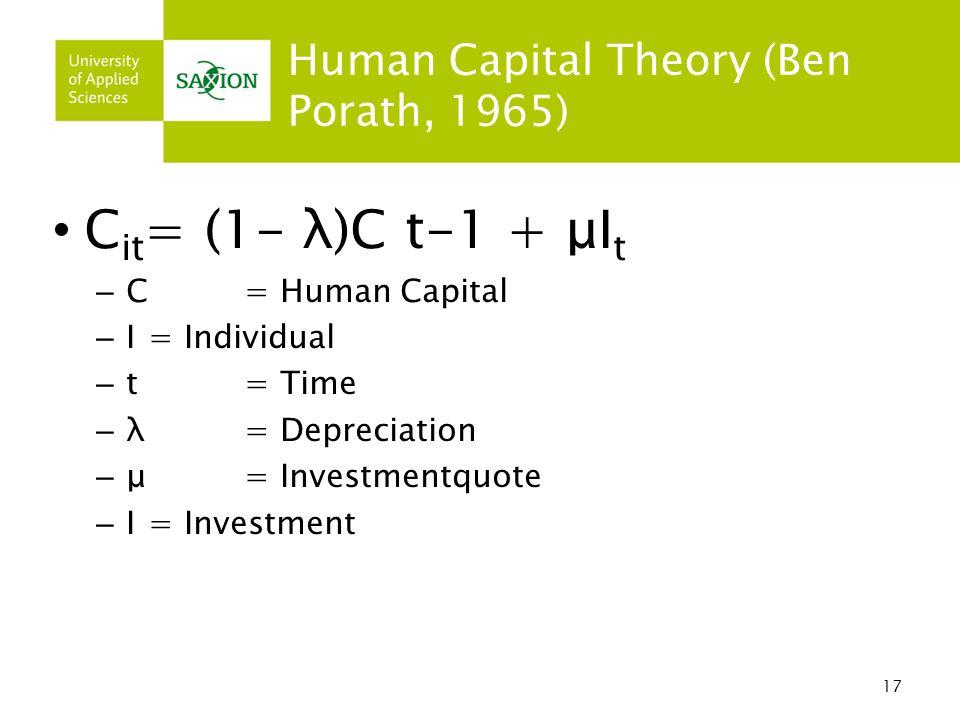 17 Human Capital Theory (Ben Porath, 1965) C it = (1- λ)C t-1 + μI t – C= Human Capital – I= Individual – t = Time – λ = Depreciation – μ = Investmentquote – I = Investment
