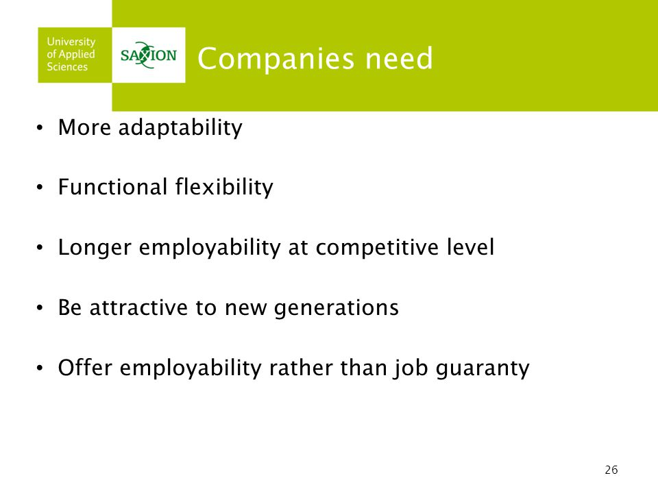 26 Companies need More adaptability Functional flexibility Longer employability at competitive level Be attractive to new generations Offer employability rather than job guaranty