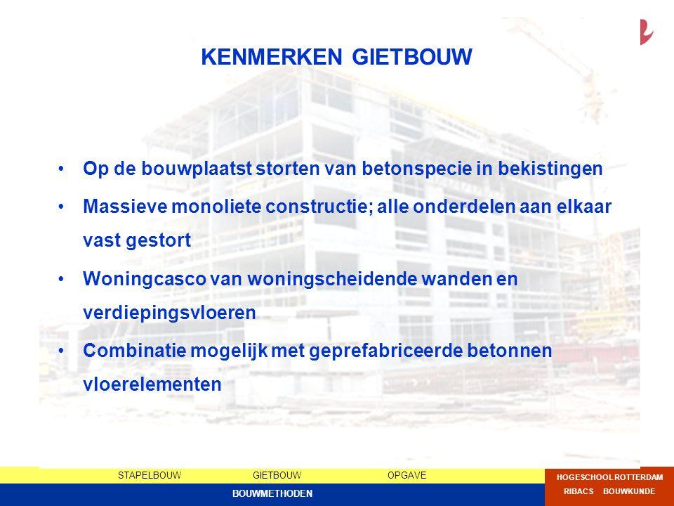 STAPELBOUWGIETBOUWOPGAVE HOGESCHOOL ROTTERDAM RIBACS BOUWKUNDE BOUWMETHODEN KENMERKEN GIETBOUW Op de bouwplaatst storten van betonspecie in bekistinge