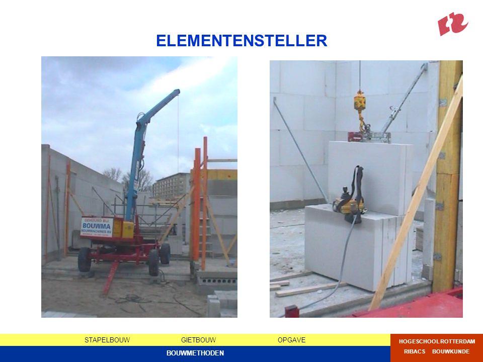 STAPELBOUWGIETBOUWOPGAVE HOGESCHOOL ROTTERDAM RIBACS BOUWKUNDE BOUWMETHODEN OPGAVE 1C ONDERZOEK BOUWMETHODEN 1Vergelijking 4 bouwmethoden30% Bestudeer relevante hoofdstukken uit Jellema deel 8 en vergelijk de 4 verschillende bouwmethoden voor meerlaagse woningbouw op de volgende aspecten: Algemene methodeomschrijving, Constructie, Stabiliteit, Opnemen leidingwerk, Geluidwerendheid, Brandwerendheid, Bouwplaats, Voorbereiding, Uitvoering, Bouwtijd, Materieel, Logistiek, Bouwkosten..