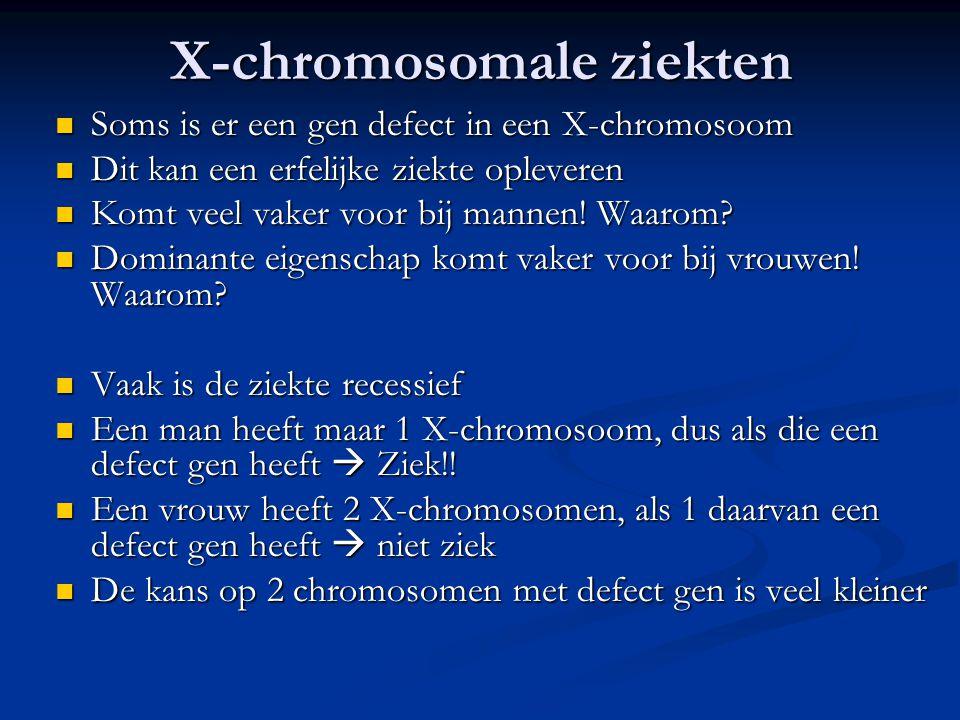 X-chromosomale ziekten Soms is er een gen defect in een X-chromosoom Soms is er een gen defect in een X-chromosoom Dit kan een erfelijke ziekte opleve