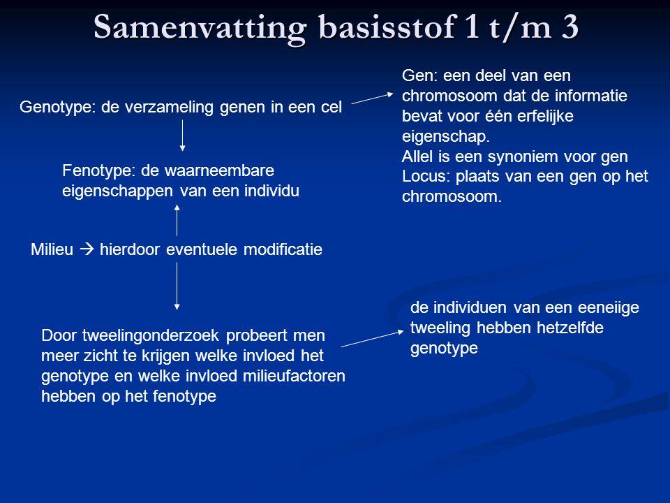 Samenvatting basisstof 1 t/m 3 Genotype: de verzameling genen in een cel Gen: een deel van een chromosoom dat de informatie bevat voor één erfelijke e