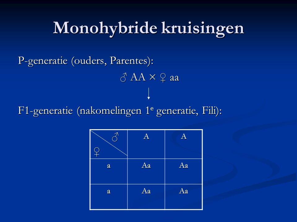 Monohybride kruisingen P-generatie (ouders, Parentes): ♂ AA × ♀ aa F1-generatie (nakomelingen 1 e generatie, Fili): ♂♀AA aAaAa aAaAa