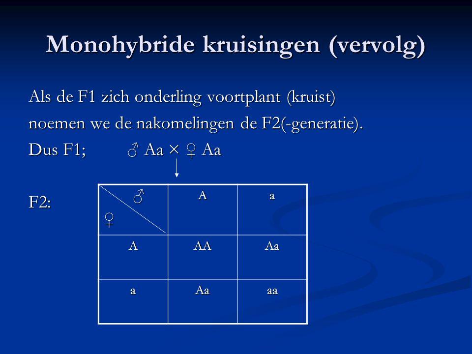 Monohybride kruisingen (vervolg) Als de F1 zich onderling voortplant (kruist) noemen we de nakomelingen de F2(-generatie). Dus F1; ♂ Aa × ♀ Aa F2: ♂♀A