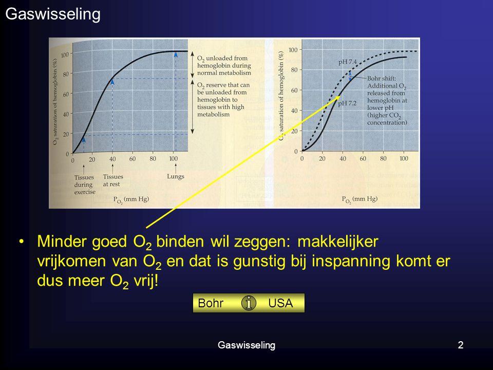 Gaswisseling2 Minder goed O 2 binden wil zeggen: makkelijker vrijkomen van O 2 en dat is gunstig bij inspanning komt er dus meer O 2 vrij! Bohr USA