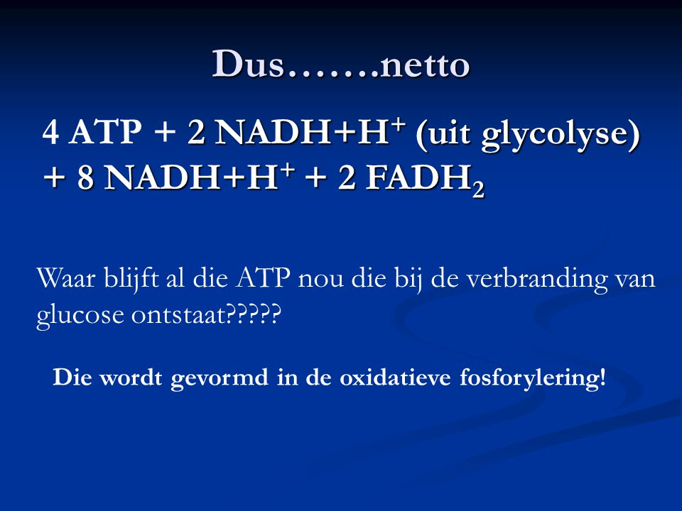 Dus…….netto 2 NADH+H + (uit glycolyse) + 8 NADH+H + + 2 FADH 2 4 ATP + 2 NADH+H + (uit glycolyse) + 8 NADH+H + + 2 FADH 2 Waar blijft al die ATP nou d