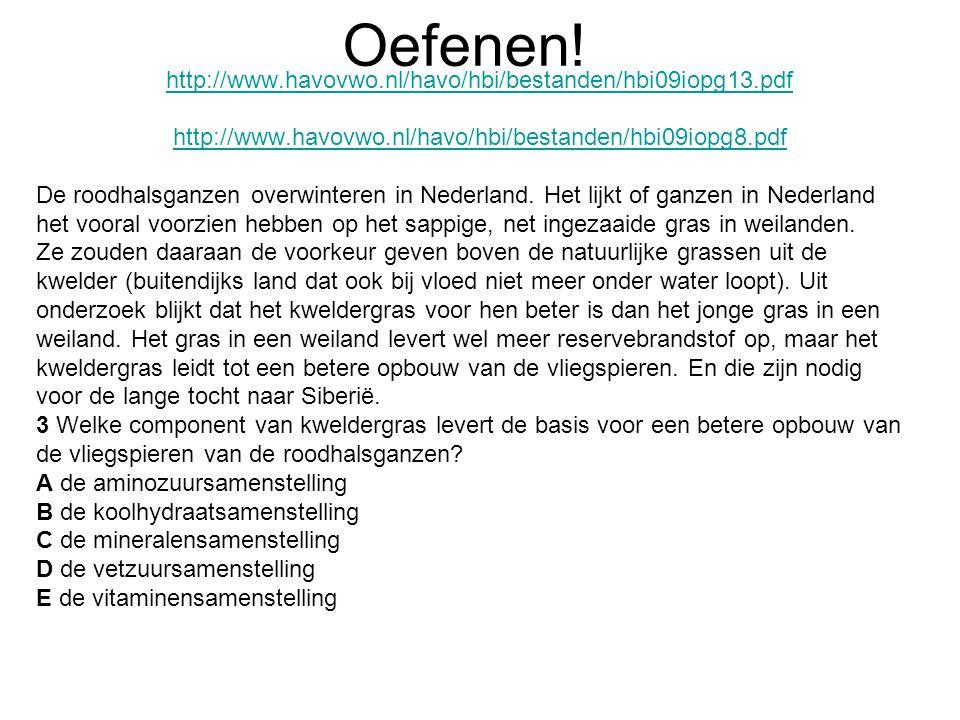 Oefenen! http://www.havovwo.nl/havo/hbi/bestanden/hbi09iopg13.pdf http://www.havovwo.nl/havo/hbi/bestanden/hbi09iopg8.pdf De roodhalsganzen overwinter