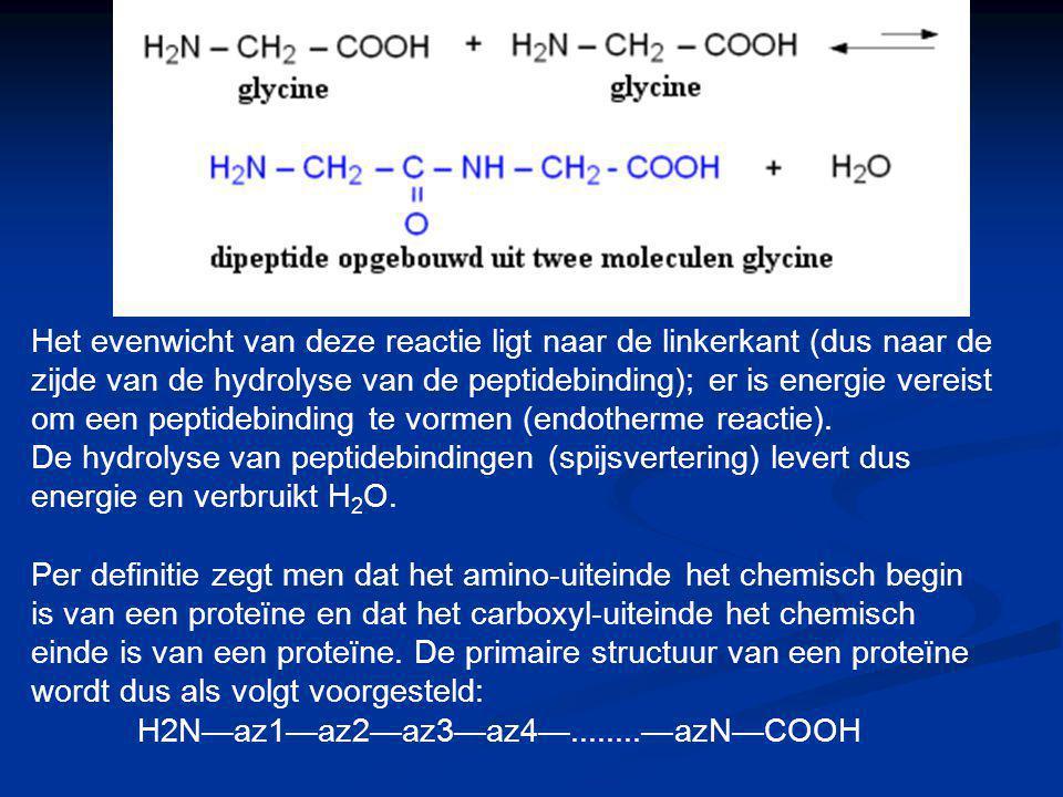 Het evenwicht van deze reactie ligt naar de linkerkant (dus naar de zijde van de hydrolyse van de peptidebinding); er is energie vereist om een peptid