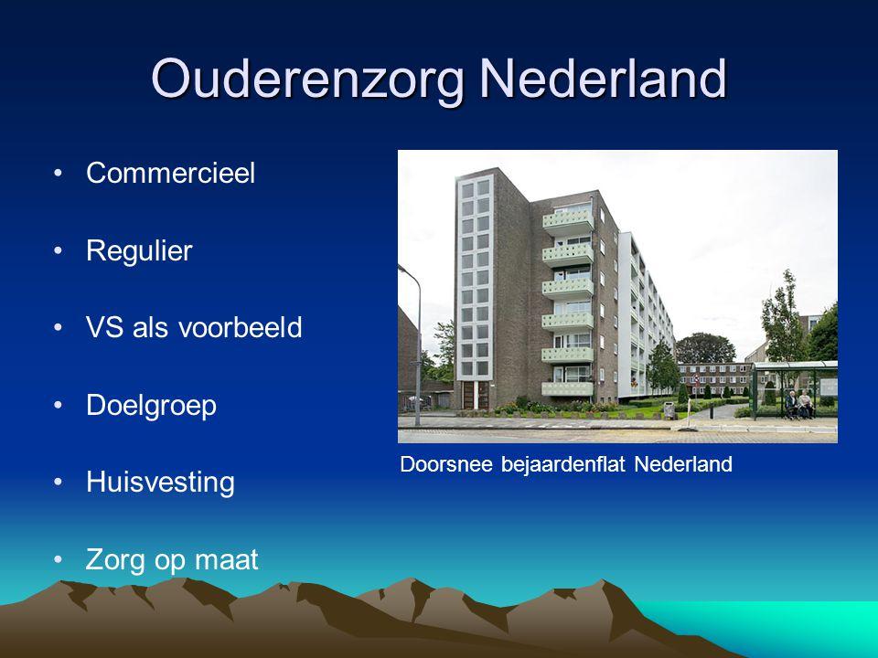 Ouderenzorg Nederland Commercieel Regulier VS als voorbeeld Doelgroep Huisvesting Zorg op maat Doorsnee bejaardenflat Nederland