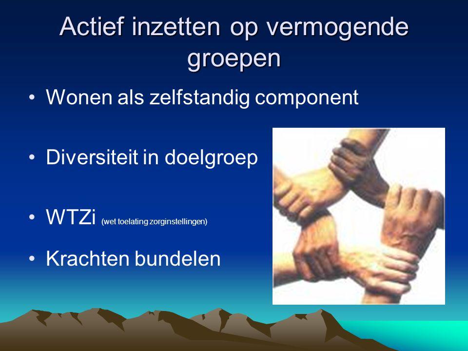 Actief inzetten op vermogende groepen Wonen als zelfstandig component Diversiteit in doelgroep WTZi (wet toelating zorginstellingen) Krachten bundelen