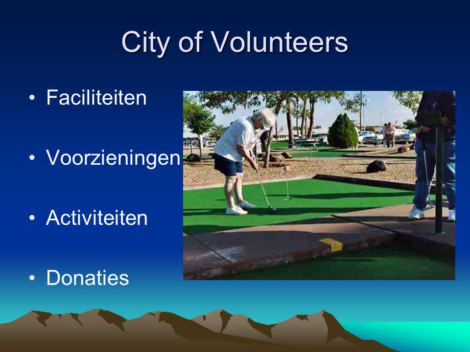 City of Volunteers Faciliteiten Voorzieningen Activiteiten Donaties