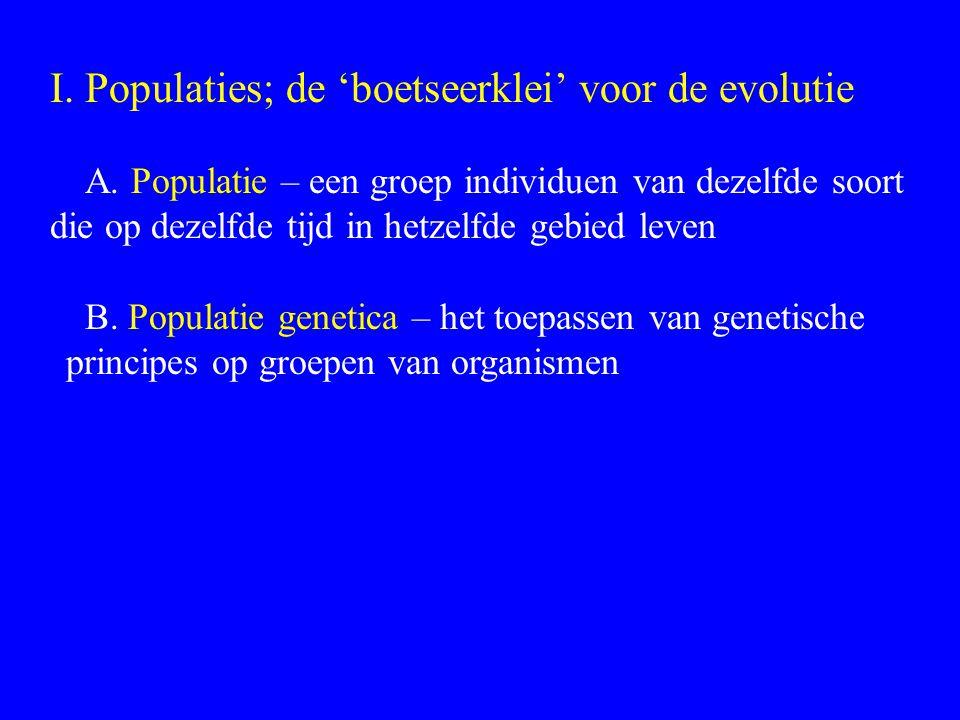 I. Populaties; de 'boetseerklei' voor de evolutie A. Populatie – een groep individuen van dezelfde soort die op dezelfde tijd in hetzelfde gebied leve