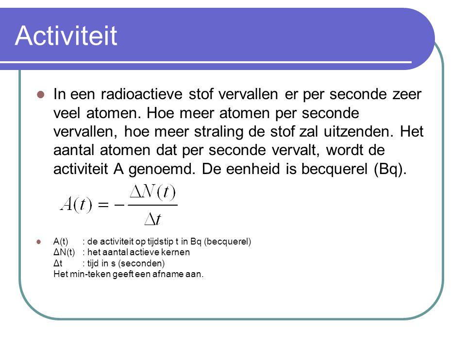 Activiteit In een radioactieve stof vervallen er per seconde zeer veel atomen. Hoe meer atomen per seconde vervallen, hoe meer straling de stof zal ui