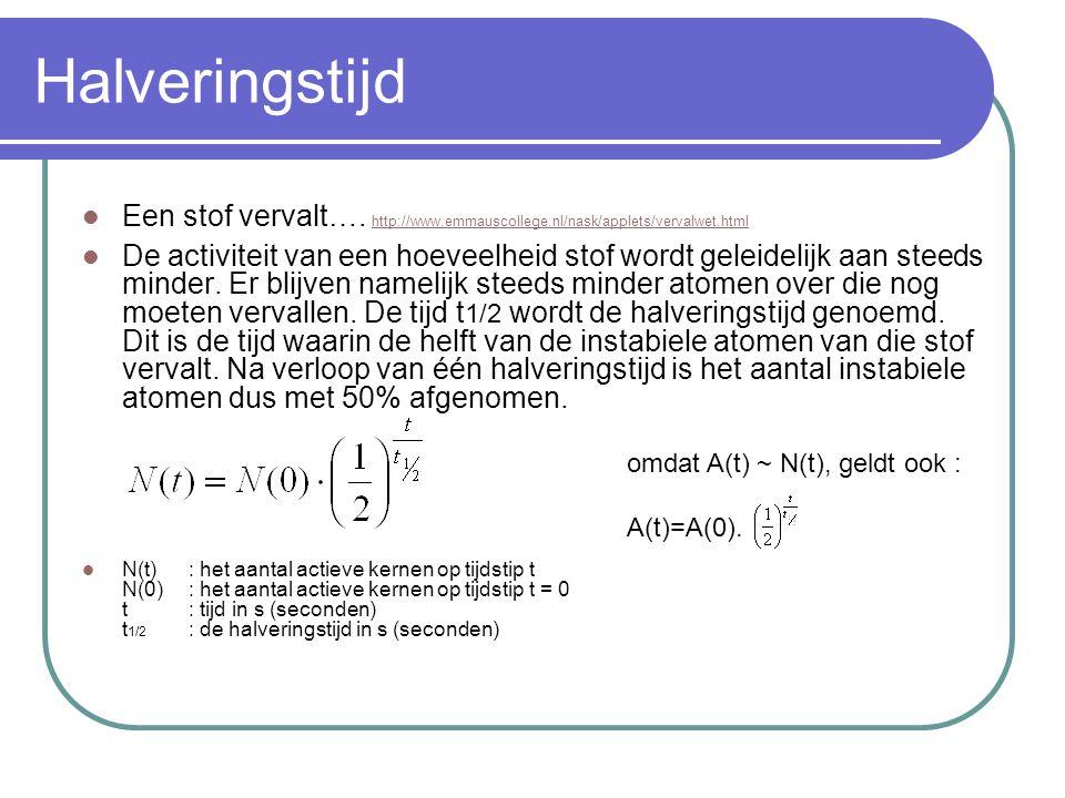 Halveringstijd Een stof vervalt…. http://www.emmauscollege.nl/nask/applets/vervalwet.html http://www.emmauscollege.nl/nask/applets/vervalwet.html De a
