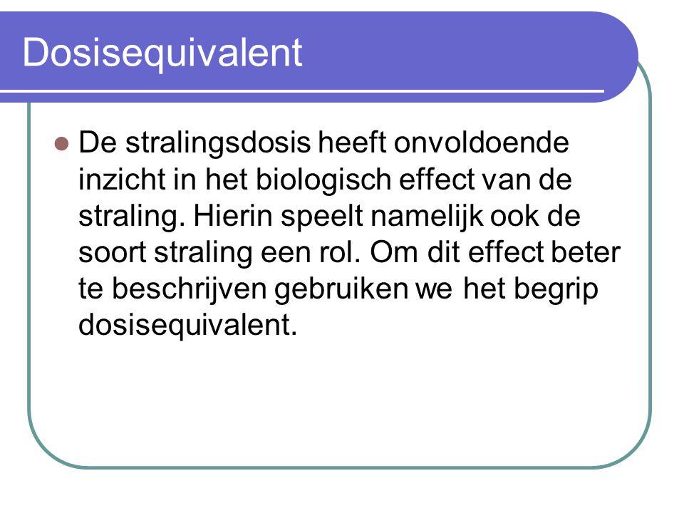 Dosisequivalent De stralingsdosis heeft onvoldoende inzicht in het biologisch effect van de straling. Hierin speelt namelijk ook de soort straling een