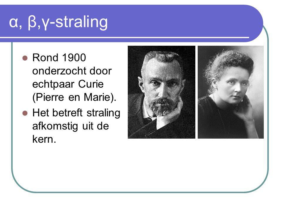 α, β,γ-straling Rond 1900 onderzocht door echtpaar Curie (Pierre en Marie). Het betreft straling afkomstig uit de kern.