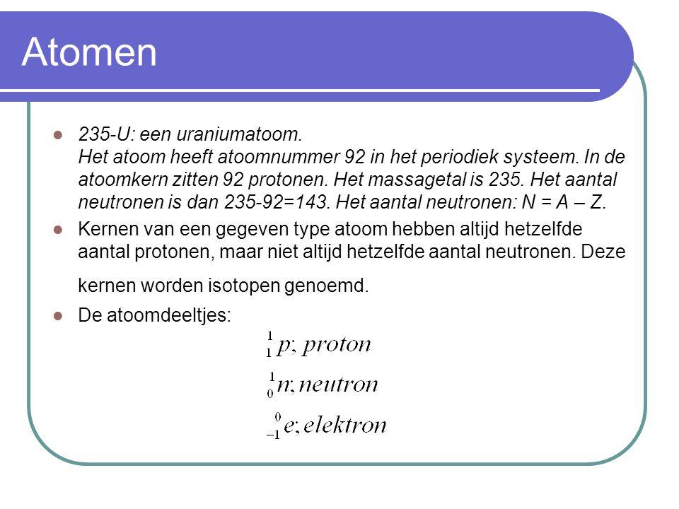 Atomen 235-U: een uraniumatoom. Het atoom heeft atoomnummer 92 in het periodiek systeem. In de atoomkern zitten 92 protonen. Het massagetal is 235. He