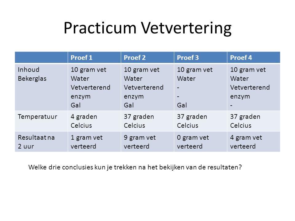 Tabel met resultaten practicum: BuisInhoudVerteringssapIndicatorKleur na 15 minuten 15 ml zetmeel- oplossing Geen (wel 5 ml water) 1 druppel jodiumopl