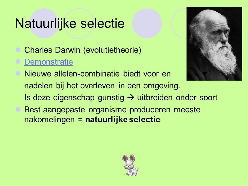 Seksuele selectie Het veroveren van de partner, seksuele selectie, is voorbeeld van natuurlijke selectie Man: Wil zoveel mogelijk genen doorgeven Vrouw: Wil beste genen ontvangen Leidt tot imponeergedrag mannetjes (uiterlijk en gedrag) Veel dieren paartijd
