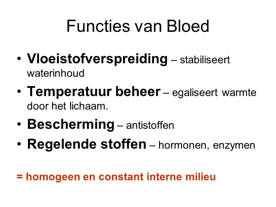 Functies van Bloed Vloeistofverspreiding – stabiliseert waterinhoud Temperatuur beheer – egaliseert warmte door het lichaam.