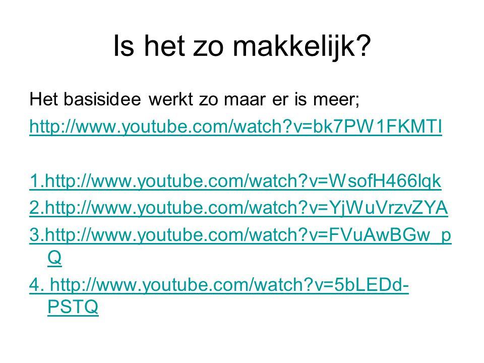 Is het zo makkelijk? Het basisidee werkt zo maar er is meer; http://www.youtube.com/watch?v=bk7PW1FKMTI 1.http://www.youtube.com/watch?v=WsofH466lqk 2