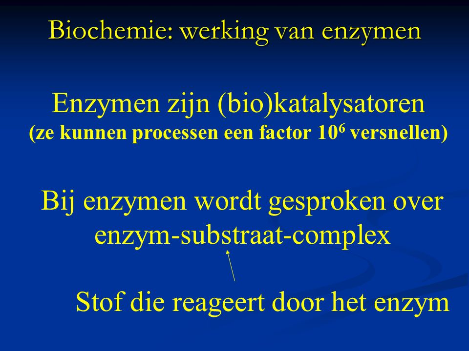 Biochemie: werking van enzymen Animatie werking van enzymen: http://www.sumanasinc.com/webcontent/animations/content/enzymes/enzymes.swf http://www.sumanasinc.com/webcontent/animations/content/enzymes/enzymes.swf http://www.northland.cc.mn.us/biology/biology1111/animations/enzyme.swf Animatie splitsing: http://www.bioplek.org/animaties/moleculaire_genetica/sh eet_maltase.html http://www.bioplek.org/animaties/moleculaire_genetica/sh eet_maltase.html Animatie synthese: http://www.bioplek.org/animaties/enzymen/enzym.swf http://www.bioplek.org/animaties/enzymen/enzym.swf