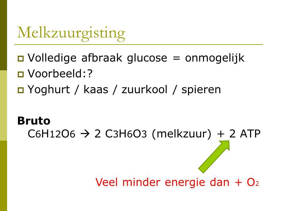 Melkzuurgisting  Volledige afbraak glucose = onmogelijk  Voorbeeld:?  Yoghurt / kaas / zuurkool / spieren Bruto C 6 H 12 O 6  2 C 3 H 6 O 3 (melkz