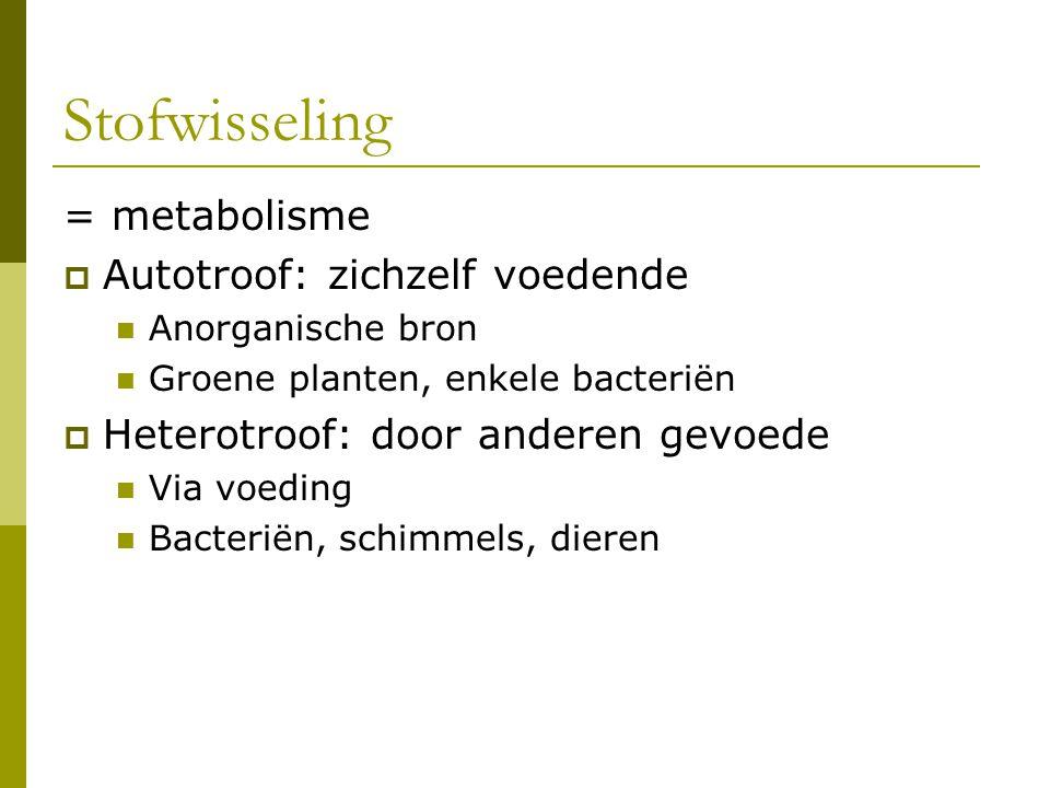 Stofwisseling = metabolisme  Autotroof: zichzelf voedende Anorganische bron Groene planten, enkele bacteriën  Heterotroof: door anderen gevoede Via