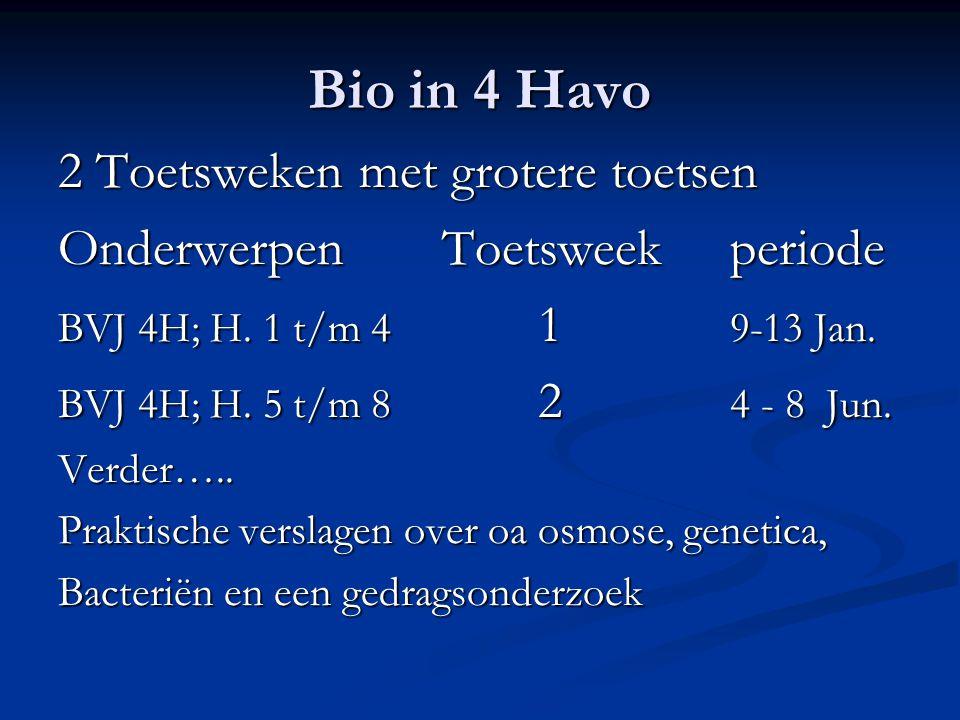Bio in 4 Havo 2 Toetsweken met grotere toetsen OnderwerpenToetsweek periode BVJ 4H; H. 1 t/m 4 1 9-13 Jan. BVJ 4H; H. 5 t/m 8 2 4 - 8 Jun. Verder….. P