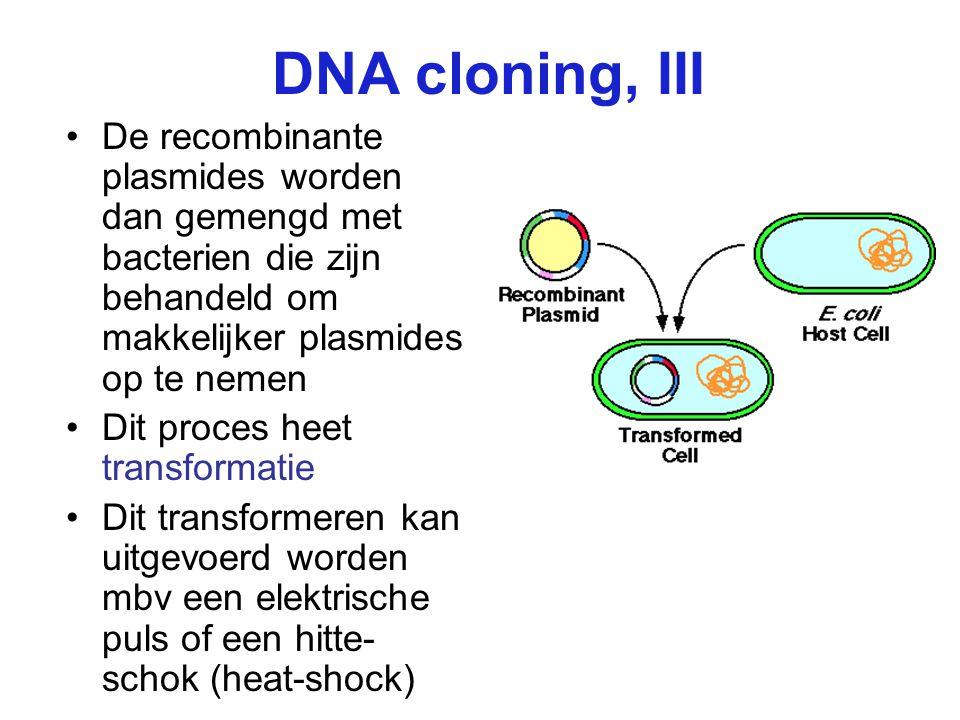 DNA cloning, III De recombinante plasmides worden dan gemengd met bacterien die zijn behandeld om makkelijker plasmides op te nemen Dit proces heet tr