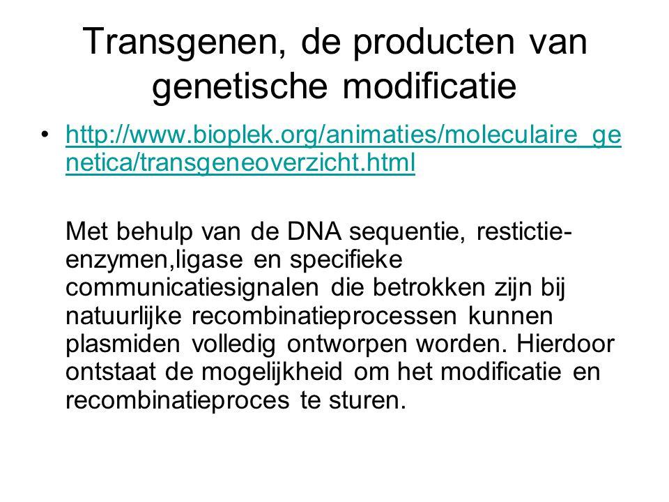 Transgenen, de producten van genetische modificatie http://www.bioplek.org/animaties/moleculaire_ge netica/transgeneoverzicht.htmlhttp://www.bioplek.o