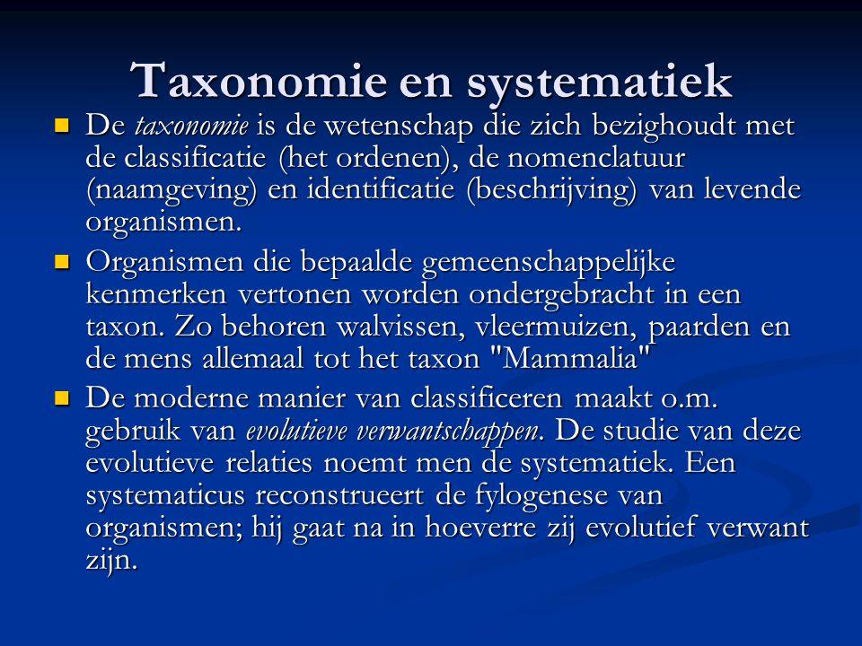 Taxonomie en systematiek De taxonomie is de wetenschap die zich bezighoudt met de classificatie (het ordenen), de nomenclatuur (naamgeving) en identif