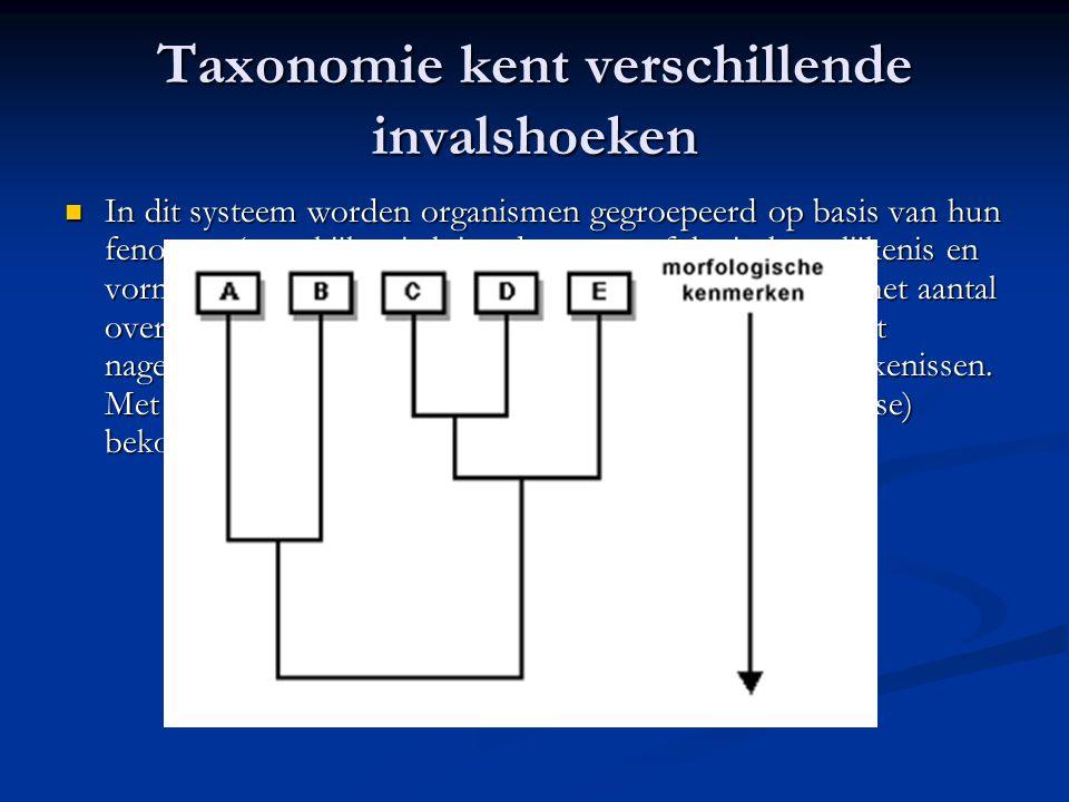 Taxonomie kent verschillende invalshoeken In dit systeem worden organismen gegroepeerd op basis van hun fenotype (men kijkt uitsluitend naar morfologi