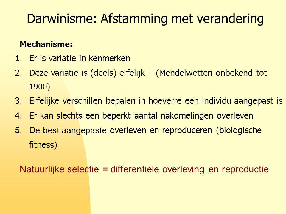 Darwinisme: Afstamming met verandering 1.Er is variatie in kenmerken 2.Deze variatie is (deels) erfelijk – (Mendelwetten onbekend tot 1900) 3.Erfelijk