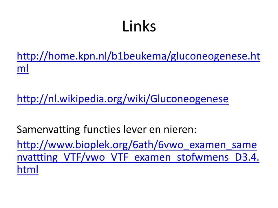 Links http://home.kpn.nl/b1beukema/gluconeogenese.ht ml http://nl.wikipedia.org/wiki/Gluconeogenese Samenvatting functies lever en nieren: http://www.