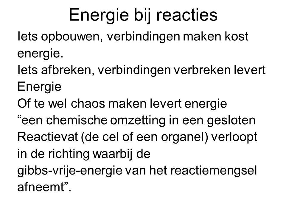 Energie bij reacties Iets opbouwen, verbindingen maken kost energie.
