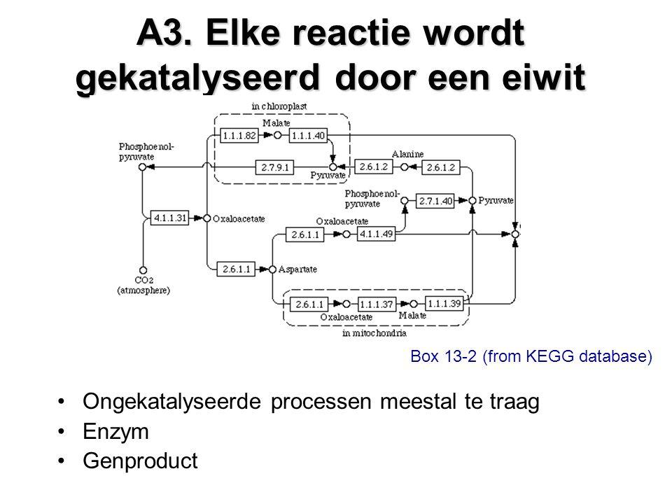 A3. Elke reactie wordt gekatalyseerd door een eiwit Ongekatalyseerde processen meestal te traag Enzym Genproduct Box 13-2 (from KEGG database)