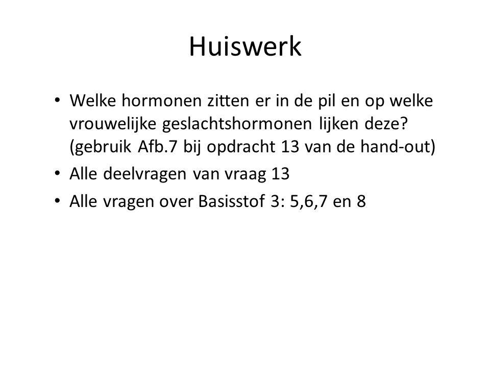 Huiswerk Welke hormonen zitten er in de pil en op welke vrouwelijke geslachtshormonen lijken deze.