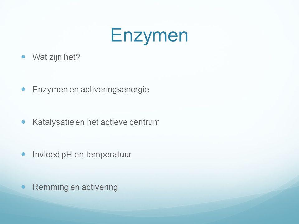 Enzymen Wat zijn het? Enzymen en activeringsenergie Katalysatie en het actieve centrum Invloed pH en temperatuur Remming en activering