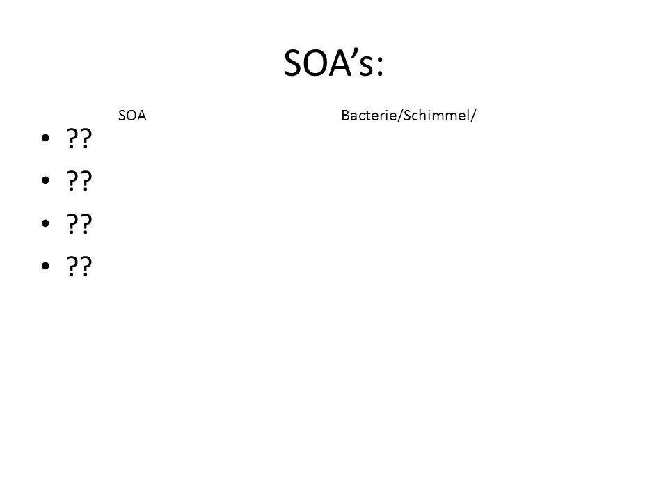 SOA's: ?? SOABacterie/Schimmel/