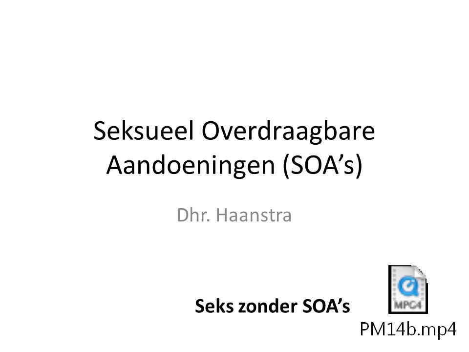 Seksueel Overdraagbare Aandoeningen (SOA's) Dhr. Haanstra Seks zonder SOA's