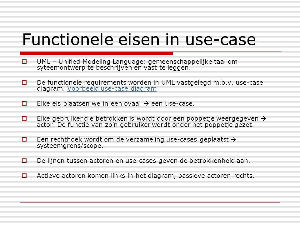 Functionele eisen in use-case  UML – Unified Modeling Language: gemeenschappelijke taal om syteemontwerp te beschrijven en vast te leggen.