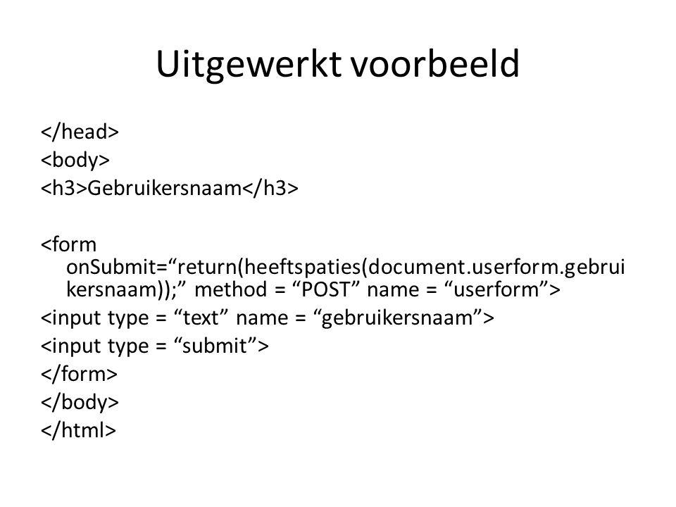 Uitgewerkt voorbeeld Gebruikersnaam
