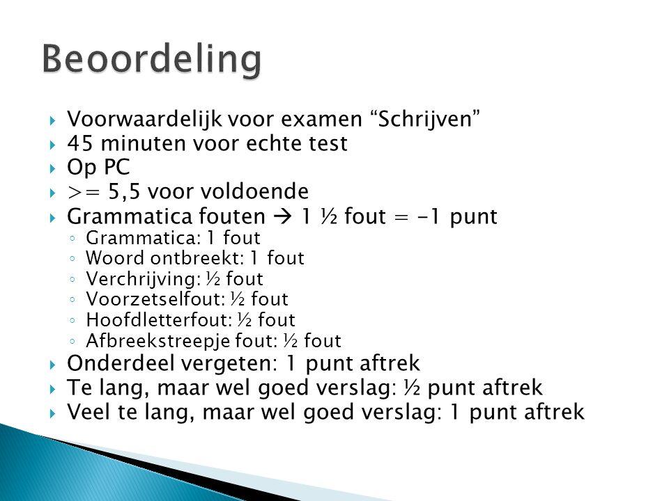 """ Voorwaardelijk voor examen """"Schrijven""""  45 minuten voor echte test  Op PC  >= 5,5 voor voldoende  Grammatica fouten  1 ½ fout = -1 punt ◦ Gramm"""