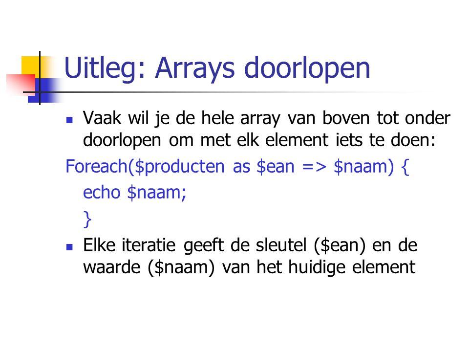 Uitleg: Arrays doorlopen Vaak wil je de hele array van boven tot onder doorlopen om met elk element iets te doen: Foreach($producten as $ean => $naam) { echo $naam; } Elke iteratie geeft de sleutel ($ean) en de waarde ($naam) van het huidige element